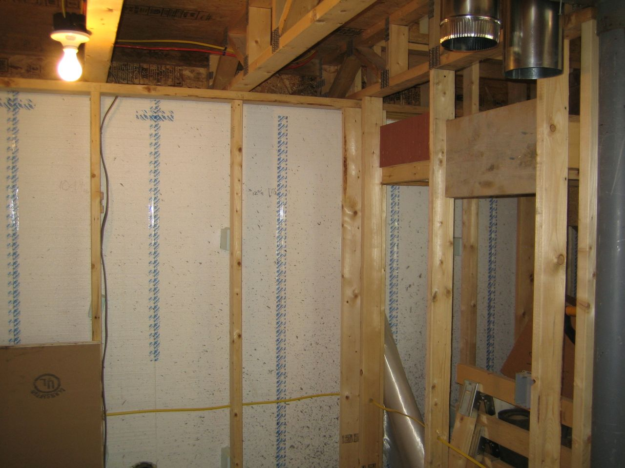 ventilator location in basement with house return supply in top right