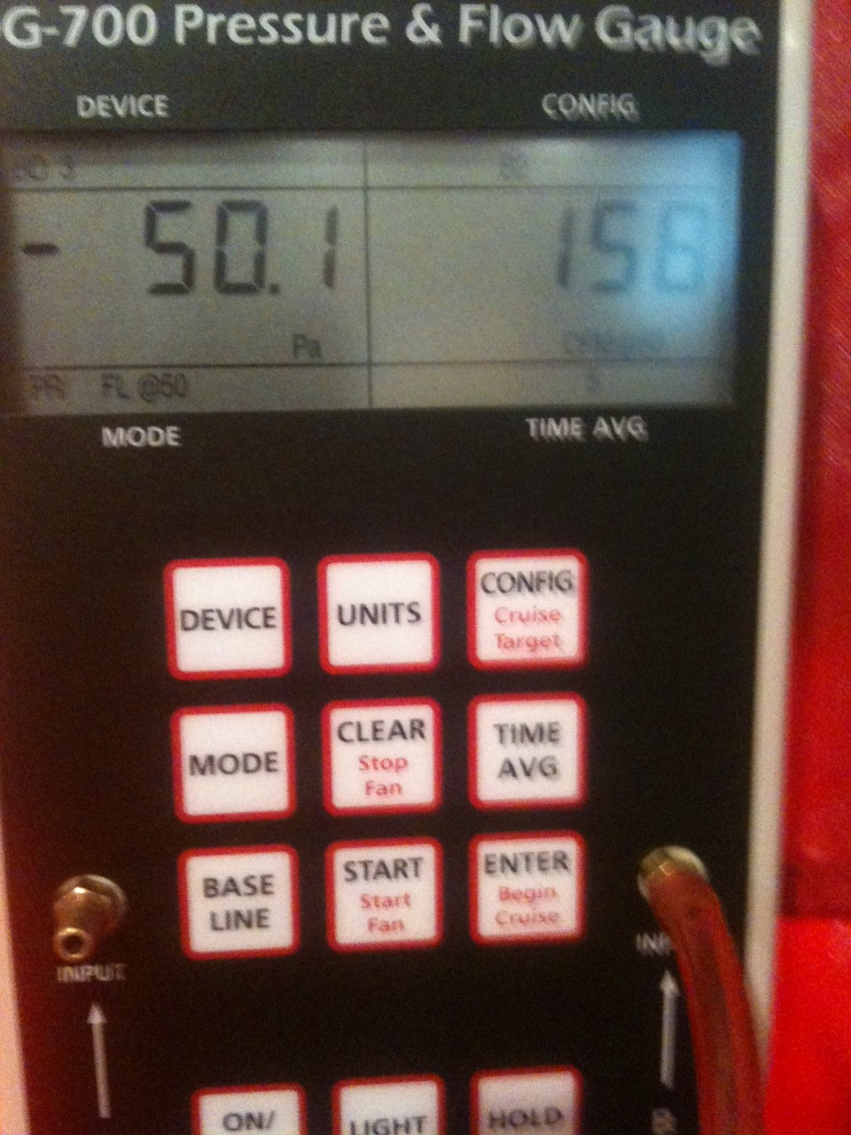 Shell blower door test results & Shell blower door test results | Up Hill House